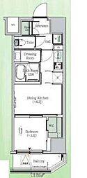 東京メトロ東西線 東陽町駅 徒歩23分の賃貸マンション 4階1DKの間取り