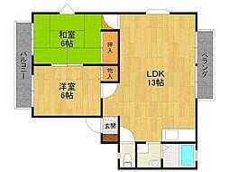 ラスター仁川 Ⅱ[2階]の間取り