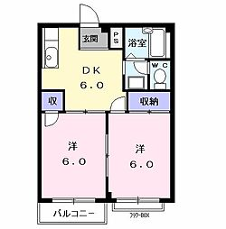 前田ビューハイツII[0202号室]の間取り