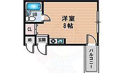 ペントハウス新大阪1 3階ワンルームの間取り