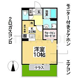 愛知県名古屋市瑞穂区師長町の賃貸アパートの間取り