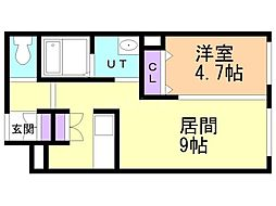 CITY RESIDENCE 幌平橋 4階1LDKの間取り