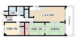 愛知県尾張旭市向町2丁目の賃貸マンションの間取り