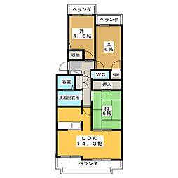 不二マンションB棟[3階]の間取り