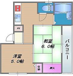 エフデージュII 3階2Kの間取り