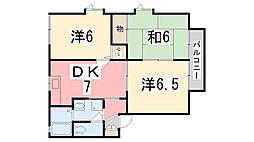 兵庫県姫路市広畑区早瀬町1丁目の賃貸アパートの間取り