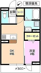 上田電鉄別所線 大学前駅 徒歩20分の賃貸アパート 3階1DKの間取り