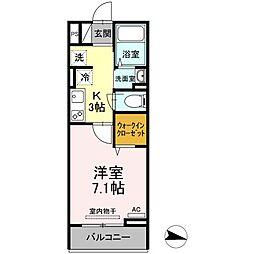 JR福塩線 万能倉駅 徒歩15分の賃貸アパート 3階1Kの間取り