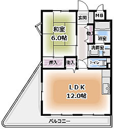 コートレックス 5階1LDKの間取り
