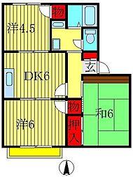 シューフルール桜台A[203号室]の間取り