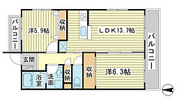 兵庫県姫路市白浜町の賃貸マンションの間取り
