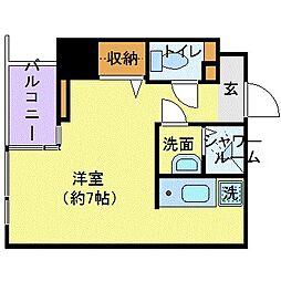 東京メトロ銀座線 三越前駅 徒歩5分の賃貸マンション 2階ワンルームの間取り