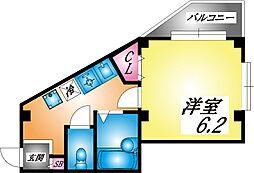 JR東海道・山陽本線 灘駅 徒歩1分の賃貸マンション 4階1Kの間取り