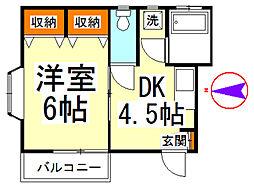 カーサHAKUA[202号室]の間取り