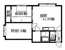 北海道札幌市清田区清田一条1丁目の賃貸アパートの間取り