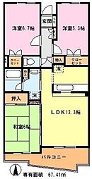 埼玉県川口市北原台3丁目の賃貸マンションの間取り
