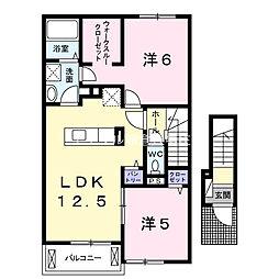 岡山県倉敷市中畝2丁目の賃貸アパートの間取り