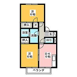 グリーンハウスB棟[1階]の間取り