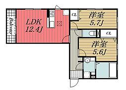 D-roomちはら台 H 1階2LDKの間取り