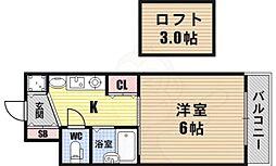 阪神なんば線 九条駅 徒歩10分の賃貸マンション 2階1Kの間取り