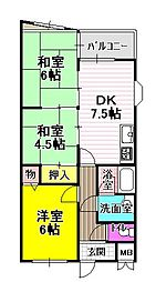 サンパティック富田林[3階]の間取り