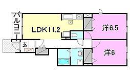 リーヴルディマージュA・B棟[A102 号室号室]の間取り