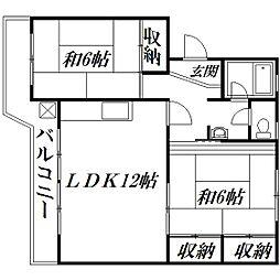 静岡県浜松市東区篠ケ瀬町の賃貸マンションの間取り
