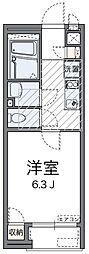 神奈川県横浜市港南区日野中央1丁目の賃貸アパートの間取り