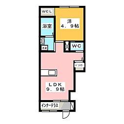 群馬県伊勢崎市ひろせ町の賃貸アパートの間取り