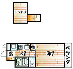 コンドミニアム折尾駅前[402号室]の間取り