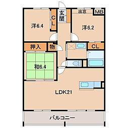 HIRATA EAST[2階]の間取り