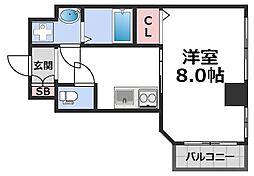 メビウス玉造レジデンスII 7階1Kの間取り