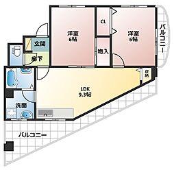 大阪府大阪市平野区瓜破2丁目の賃貸マンションの間取り