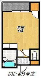JR片町線(学研都市線) 住道駅 徒歩20分の賃貸マンション 4階ワンルームの間取り