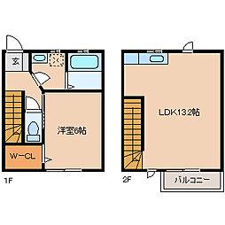 casa oki B 1階1LDKの間取り