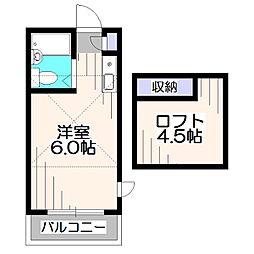 東京都西東京市谷戸町3丁目の賃貸アパートの間取り