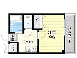 阪急千里線 南千里駅 徒歩25分の賃貸マンション 6階1Kの間取り