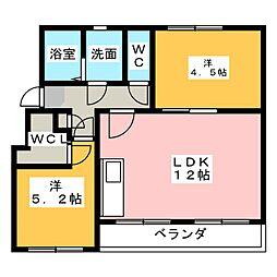 なるみグリーンコーポ5号棟[2階]の間取り