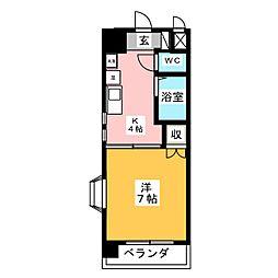 愛知県名古屋市中区千代田4の賃貸マンションの間取り