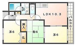 ラフィネ星田[3階]の間取り