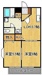 プレジデントタカヤ6 B棟 1階2DKの間取り