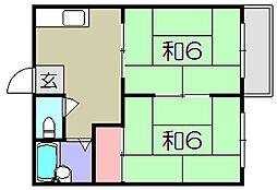 滋賀県東近江市沖野1丁目の賃貸アパートの間取り