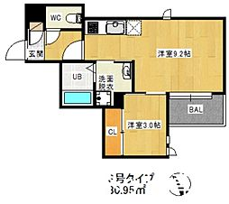 JR鹿児島本線 笹原駅 徒歩26分の賃貸アパート 1階1LDKの間取り
