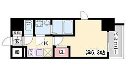 エスリードザ・ランドマーク神戸 5階1Kの間取り