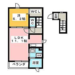 静岡県静岡市清水区沼田町の賃貸アパートの間取り