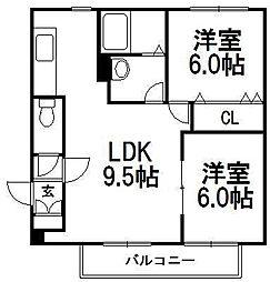 北海道札幌市西区発寒十条2丁目の賃貸マンションの間取り