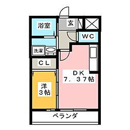 仮)D-room舳越 2階1DKの間取り