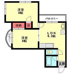プリンセスメディアパークII[5階]の間取り