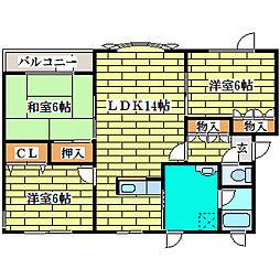 北海道札幌市清田区平岡公園東7丁目の賃貸アパートの間取り
