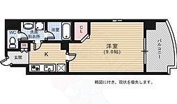 ライフメント堺町2 7階1Kの間取り